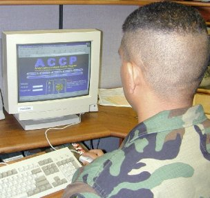 soldier at computer